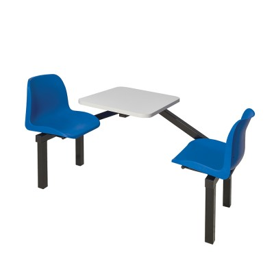 GS-INDUSTRIES 4 SEATER DOUBLE ENTRY CANTEEN FURNITURE TABLE AND CHAIRS Blue